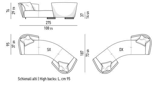 SEMI-ROUND VIS-A-VIS SOFA HIGH CM 275