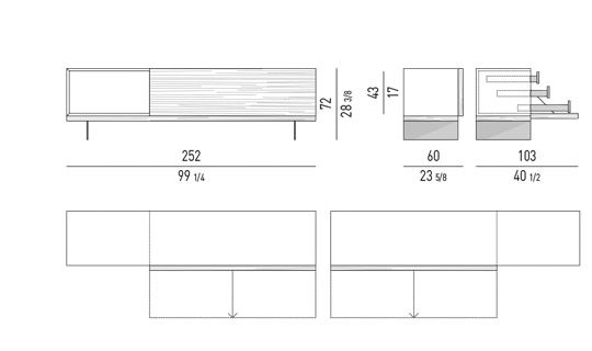 DINING SIDEBOARD WITH OPEN SECTION
