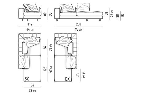 DUVET - OPEN-END CORNER SOFA CM 112X238