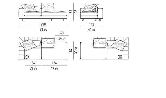 DUVET - OPEN-END ELEMENT WITH 1 ARMREST CM 238X112- BACKREST CM 175