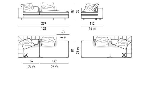 DUVET - OPEN-END ELEMENT WITH 1 ARMREST CM 259X112 - BACKREST CM 196